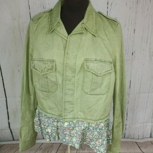 We The Free People khaki military floral jacket S